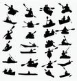 silhouettes kayaking vector image