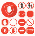 stop signs collection stop hand octagon circle vector image