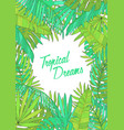 summer background with tropical leaves monstera vector image vector image