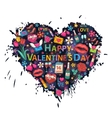 Valentines Day set on the heart vector image vector image