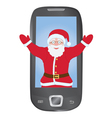 Santa inside mobile phone vector image