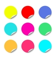 Color round stickers with curled edge vector image