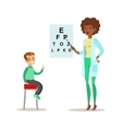 Boy Checkeing His Eyesight With Chart On Medical vector image vector image