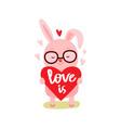 cartoon cute rabbit with heart vector image vector image