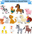 cartoon farm animals collection vector image vector image