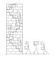 cartoon workers carrying stone blocks vector image