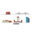 china xiamen flat landmarks vector image vector image