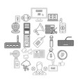 clerk icons set outline style vector image