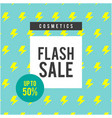 cosmetics flash sale up to 50 blue background vec vector image vector image