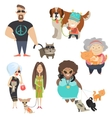 Cute pets with their owners vector image vector image