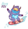 cute yeti snowboarding print vector image