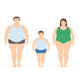 fat man woman and child in flat style vector image vector image
