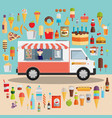 flat design style modern icons set of wagon full vector image vector image