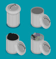 flat steel bin icon set vector image