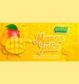 fresh mango juice splash banner with apteitic vector image