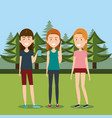 girls with smartphones in the camping zone vector image