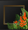 golden border with bird of paradise flowers vector image vector image