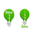 Green light bulb with leaf icon vector image vector image