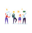 group of aggressive people characters quarrel vector image