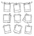 Hand drawn vintage photo frame doodle set vector image