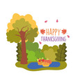 happy thanksgiving celebration cake pumpkin fruits vector image