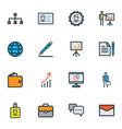 job icons colored line set with cash pen vector image vector image