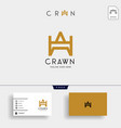 letter aw crown gold initial logo template vector image vector image