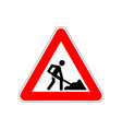 man at work icon on triangle red and white vector image