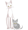Mother Cat and Daughter Kitten vector image vector image