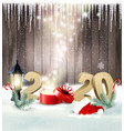 new year holiday background with magic box and vector image