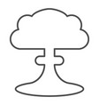 nuclear explosion thin line icon radioactive vector image