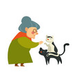 old woman on retirement knitting sweater and vector image