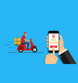 online delivery service in phone app order vector image vector image
