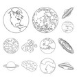 planets of the solar system outline icons in set vector image