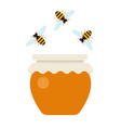 pot honey and flying bees flat isolated vector image vector image