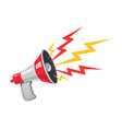 red megaphone with colorful lightning vector image vector image