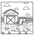 rural landscape barn and tractor chickens with vector image