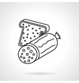 Sausage sandwich black line icon vector image vector image