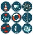 sea set of 9 nautical elements in a circle shape