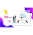 secure cloud storage info exchange landing page vector image