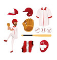 set baseball player and professional uniform vector image vector image