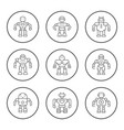 set round line icons robot vector image