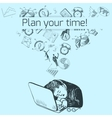 Time management poster sketch vector image vector image