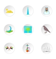 Tourism in UAE icons set cartoon style vector image vector image
