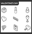 valentines day color outline isometric icons vector image vector image