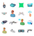 virtual reality icons set cartoon style vector image vector image