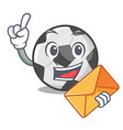 with envelope soccer ball isolated with mascot vector image