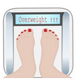 woman feet on a weight machine overweight vector image vector image