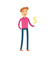 young man with dollar sign in his hand - male vector image vector image