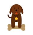 brown puppy dog with bone - flat cartoon vector image